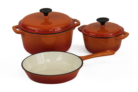 Fine Living - Lifestyle Cast iron Set - 5pc - Orange