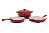Fine Living - 4pc Cast Iron Set - Red <p><b> Hurry - only 20 left!! </b>