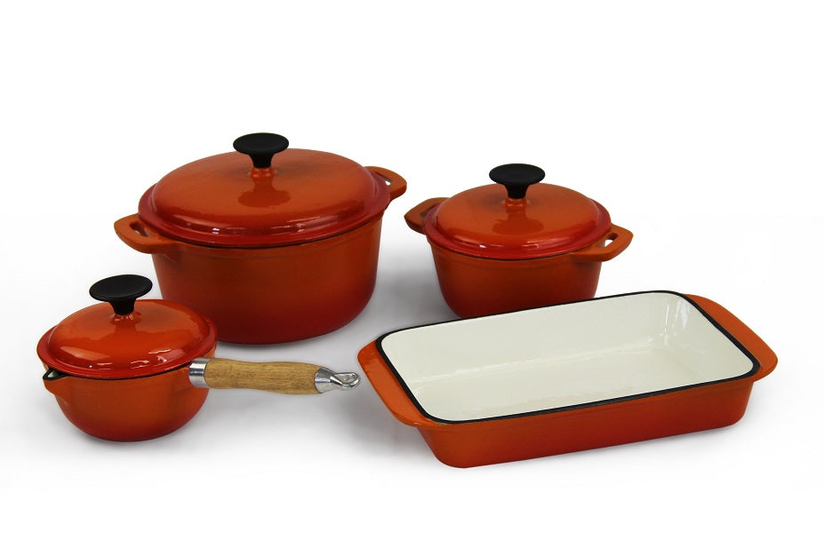 Fine Living – Lifestyle Cast Iron Set 7pc – Orange