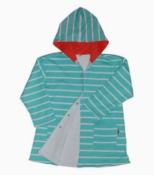 Kids Hooded Gown - 4 - 5 years - Sea Green and Orange