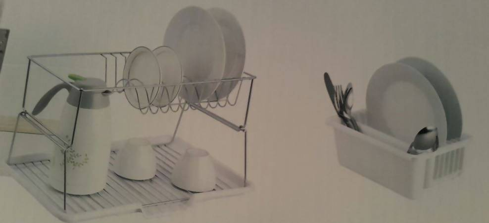 Dish Rack 2 Tier White and Chrome