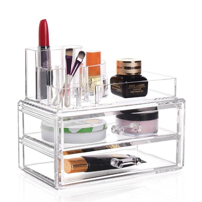 Acrylic Cosmetic Organiser 2 Drawers Plus Accessory Display Tray Gifts