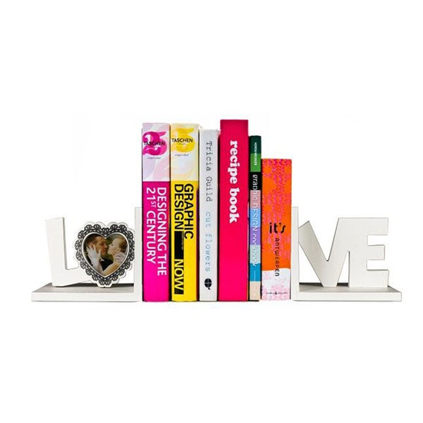 Book Holders - Wooden - Love - White -