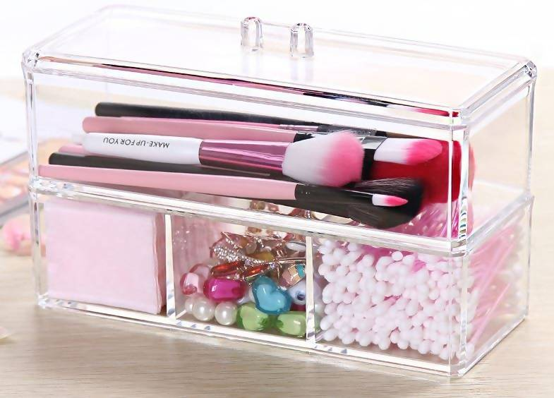Cosmetic Organiser Display Acrylic 2 Divisions