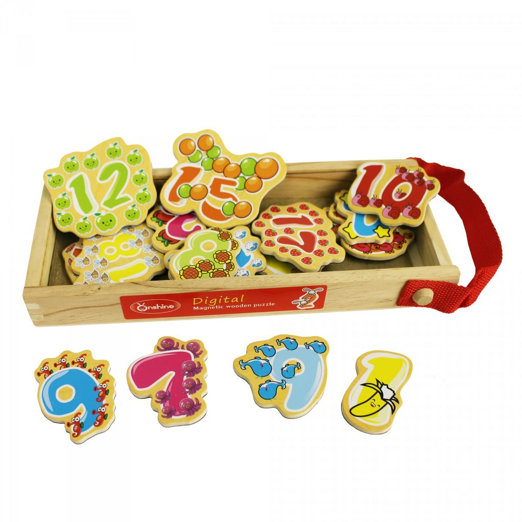 Puzzle Wooden Magnetic Numbers - Kids Toddlers Toys Gifts
