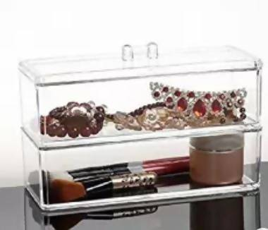 Acrylic Cosmetic Anything Storage Organiser 2 Layer Division
