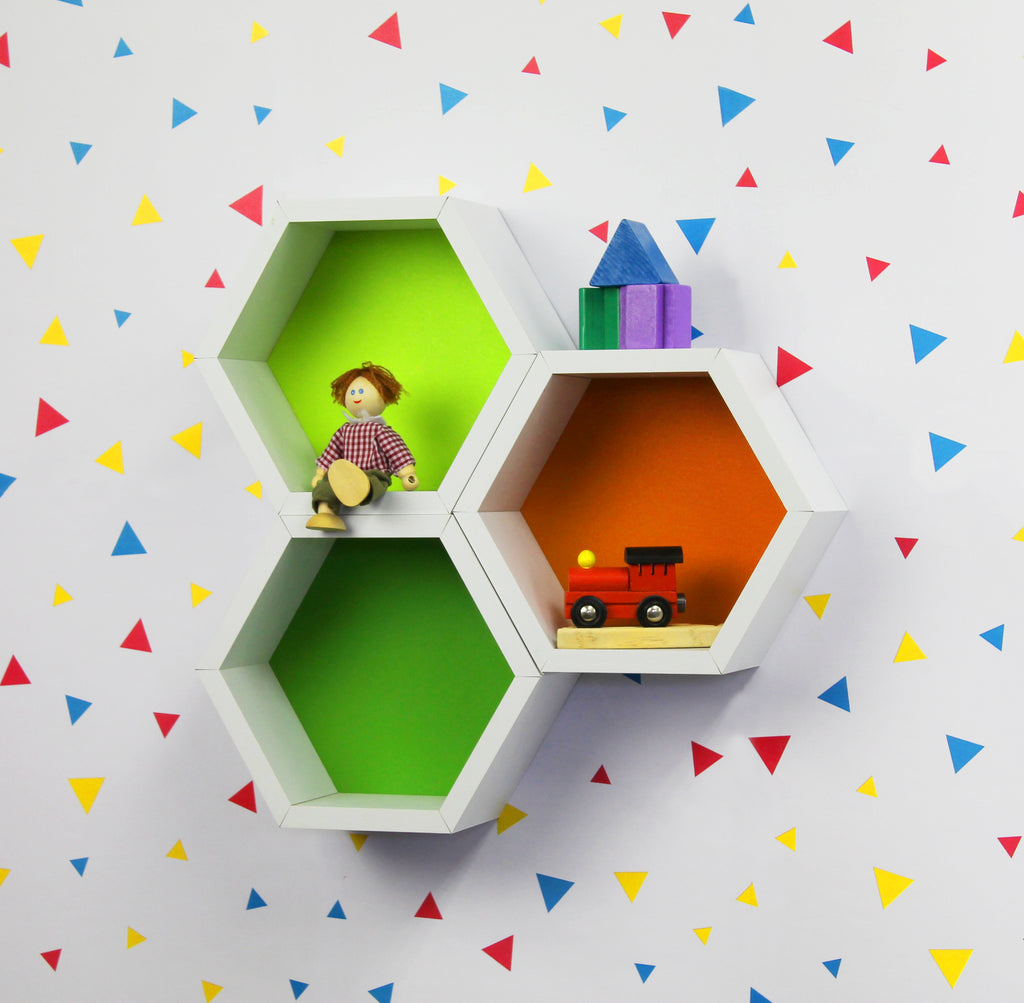 Juno Shelves - Kids Hexagon 3pc - Green/Orange/Yel