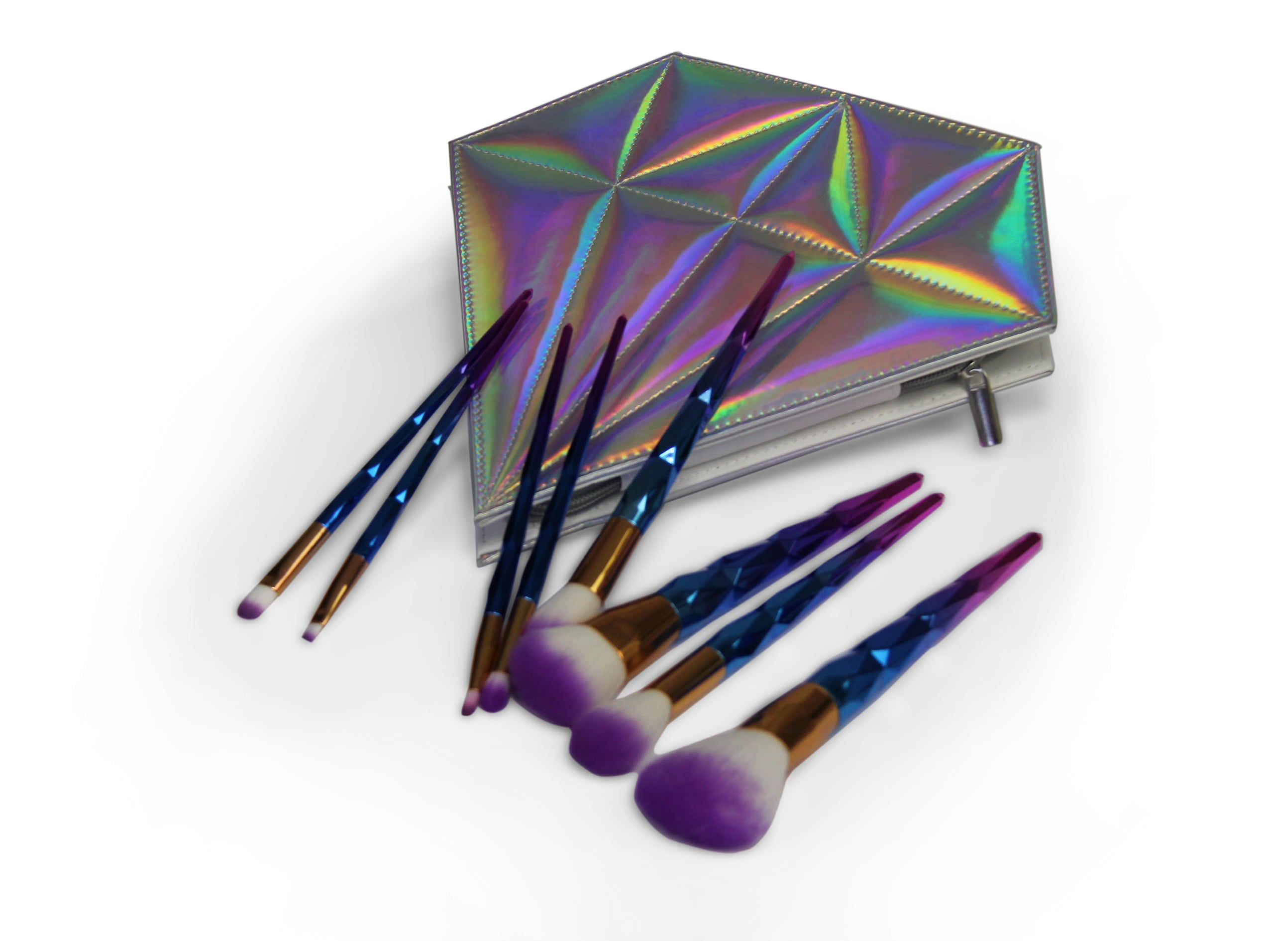 Makeup Brush Set - 8pc - Unicorn Blue/Purple
