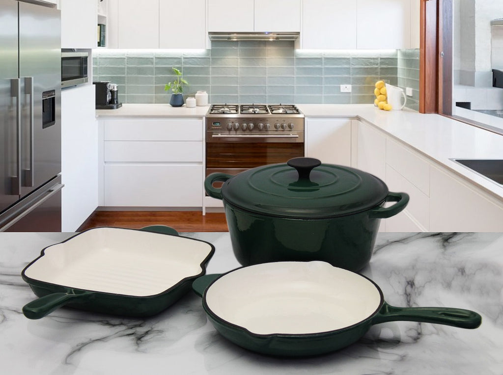 Fine Living - 4pc Cast Iron Set - Dark Green
