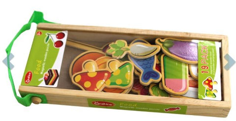 Puzzle Wooden Magnetic Food - Kids Toddlers Toys Gifts