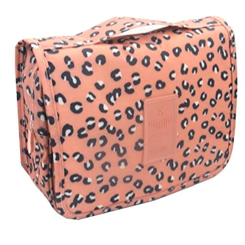 Hanging Toiletry Bag - Pink Leopard