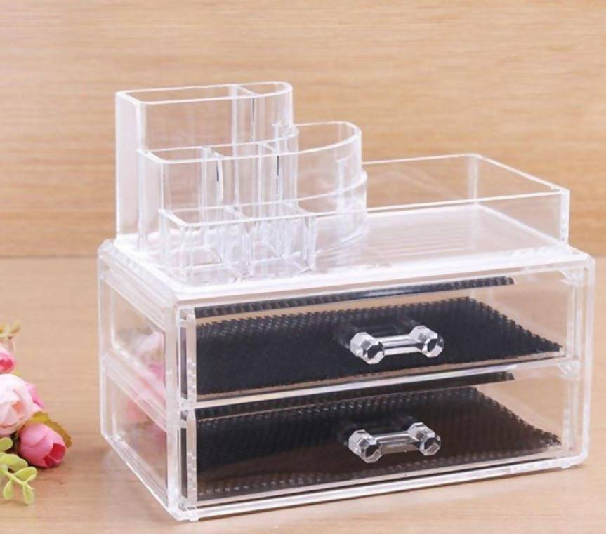 Cosmetic Organiser 2 Drawers Plus Accessory Display Tray Gifts