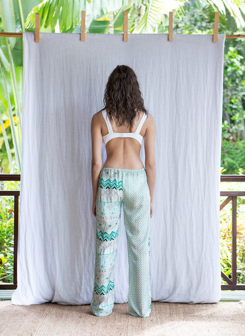 LEA PANTS - GREEN FLOWER