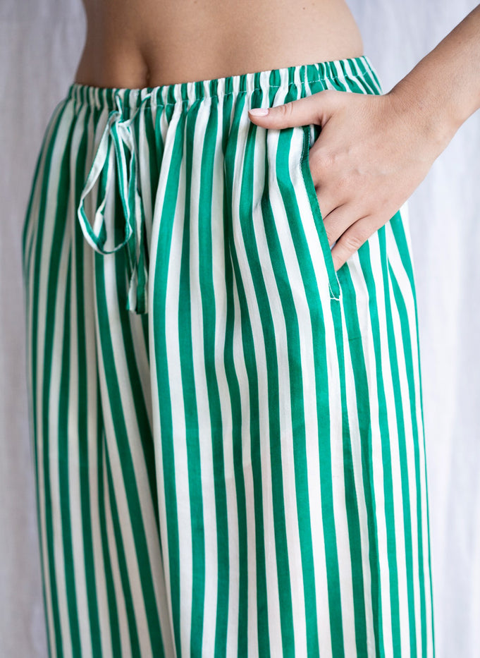 LEA PANTS STRIPES - DARK GREEN