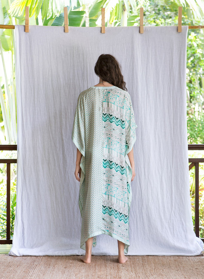 MILA LONG KAFTAN - GREEN FLOWER