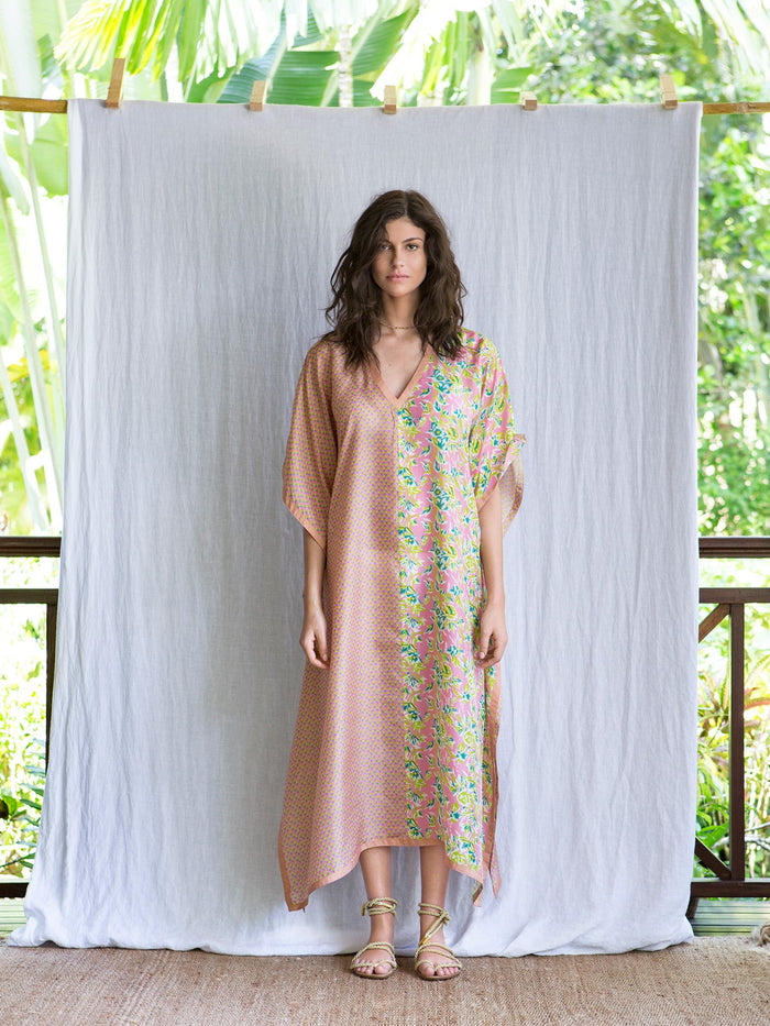 MILA LONG KAFTAN - PINK FLOWER
