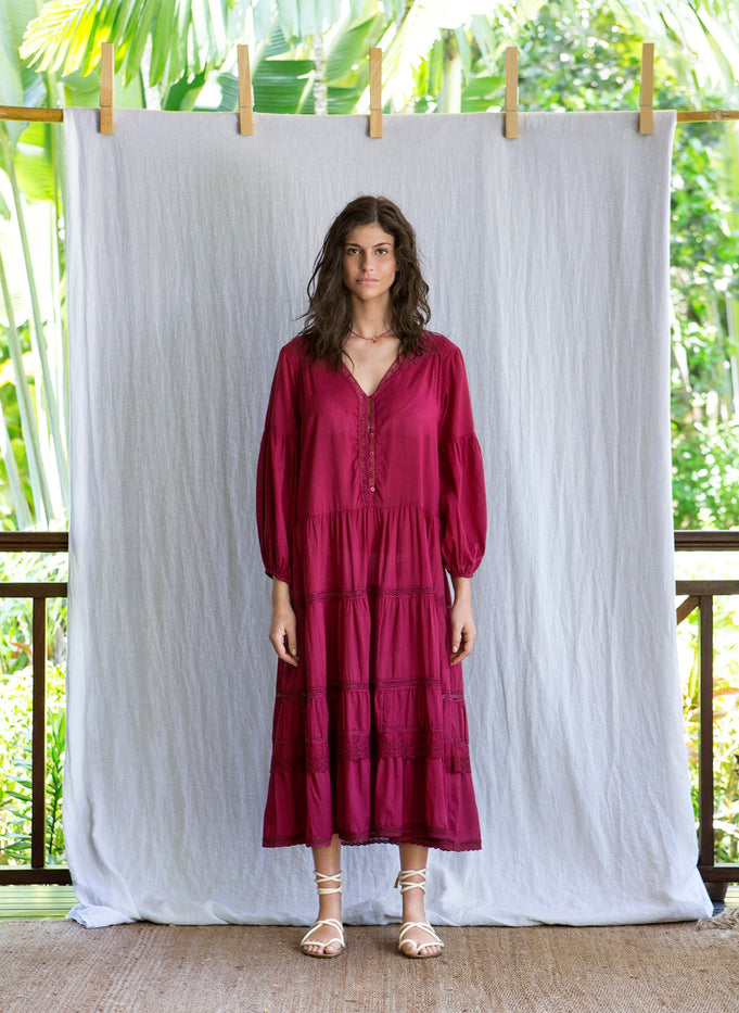 MAHE DRESS - BURGUNDY