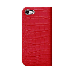iPhone 7 Leather Case (Red) Book Type - Alligator Leather Cover for iPhone7 - SQACB700-RED