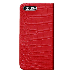 iPhone 7 Plus Leather Case (Red) Book Type - Alligator Leather Cover for iPhone7Plus - SQACB710-RED