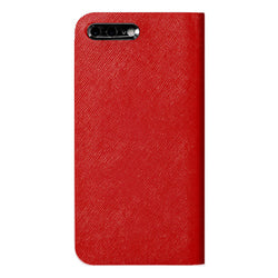 iPhone 7 Plus Leather Case (Red) Book Type - Calf Leather Cover for iPhone7Plus - SQCCB710-RED