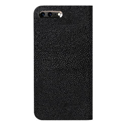 iPhone 7 plus Leather Case (Black) Book Type - Stingray Leather Cover for iPhone7Plus - SQSRB710-BLK