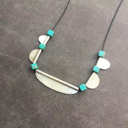 Short silver and turquoises necklace - Colar curto prata e turquesas