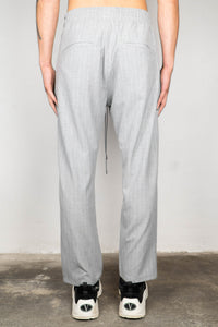 LIGHT GREY ZIPPED PINSTRIPE ANKLE PANTS