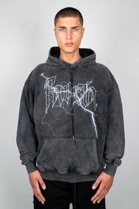 BOLT BLACK WASHED DRAWSTRING HOODIE