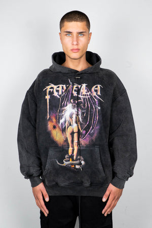 SEDUCE BLACK WASHED DRAWSTRING HOODIE