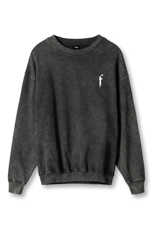 F BLACK WASHED CREWNECK