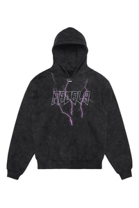 LIGHTNING OUTLINE ENZYME WASH BLACK DRAWSTRING HOODIE