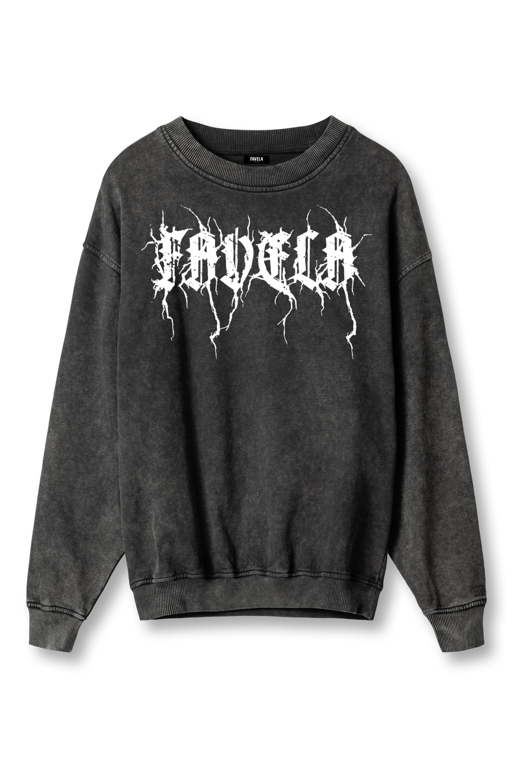 METAL BLACK WASHED CREWNECK