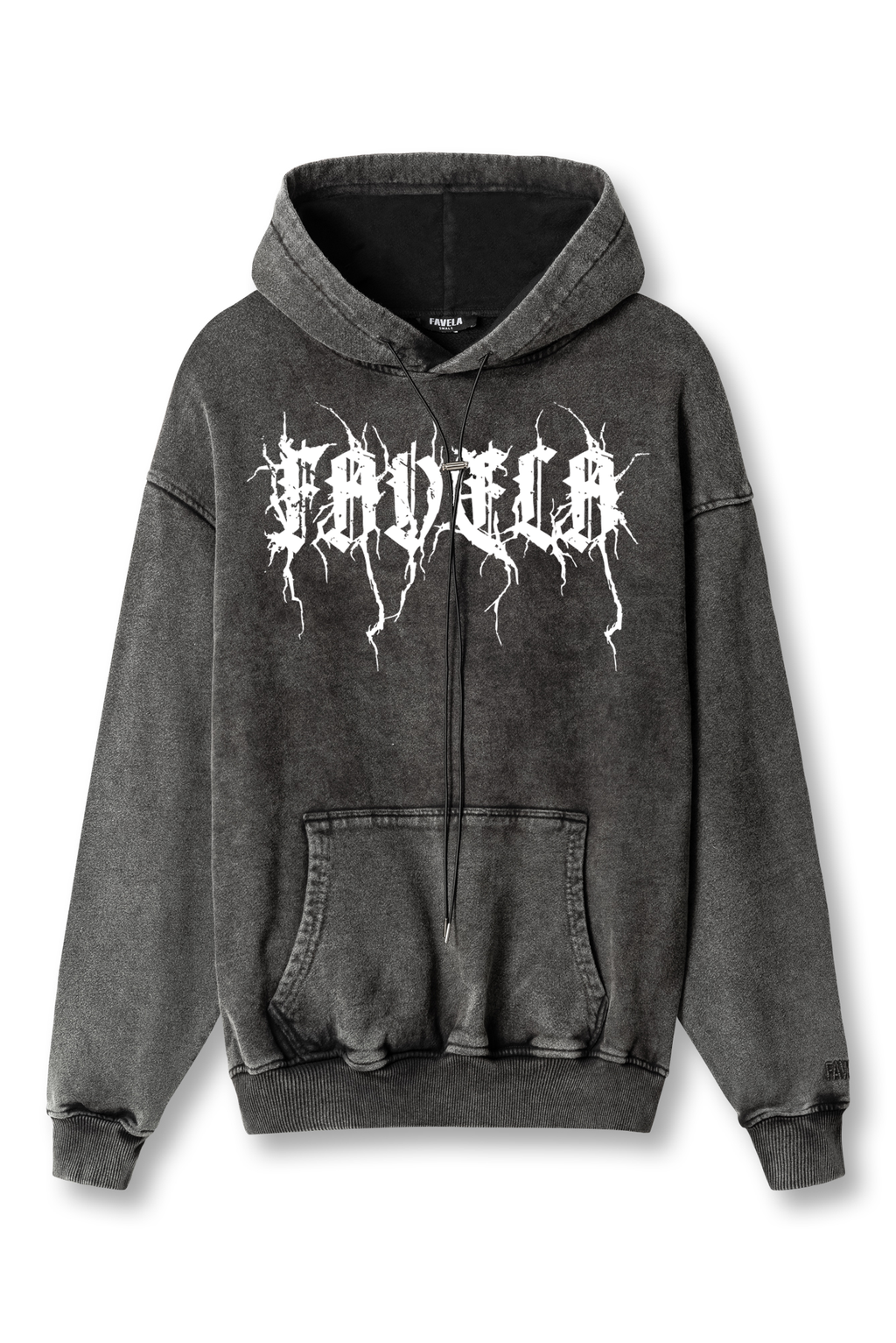 METAL BLACK WASHED HOODIE