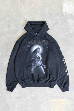 NUN BLACK WASHED SNAP BUTTON HOODIE