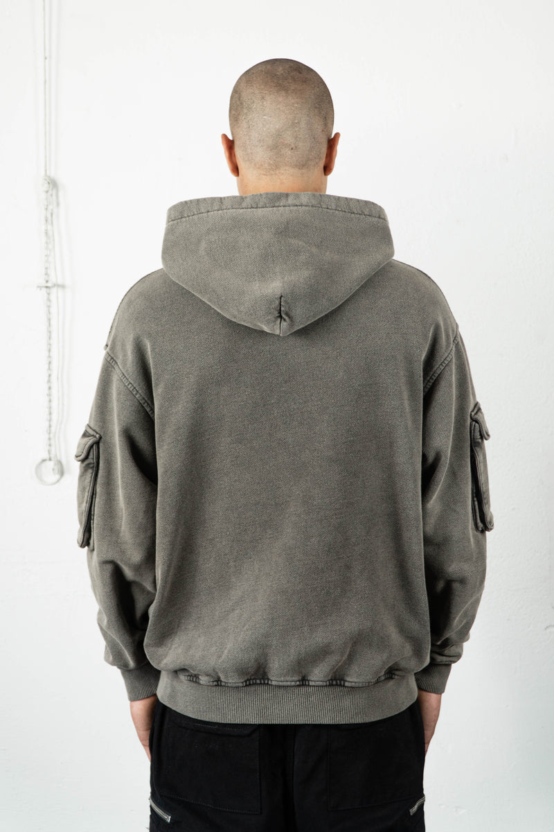 TAUPE MILITARY CARGO FRONTZIP HOODIE