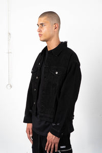 BLACK DISTRESSED TRUCKER JACKET