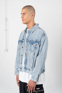 BLUE DISTRESSED TRUCKER JACKET