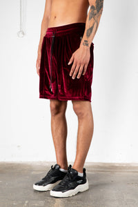 BORDEAUX VELVET SWEAT SHORTS