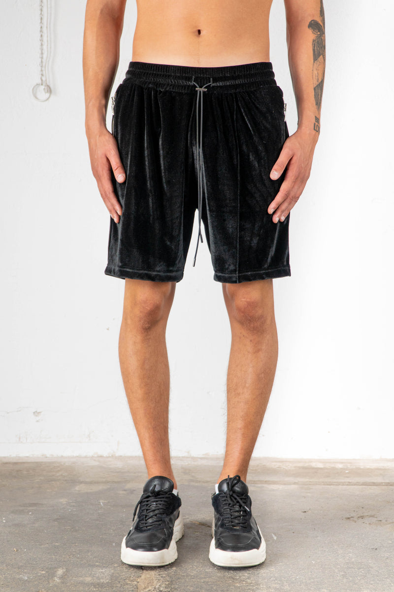 BLACK VELVET SWEAT SHORTS