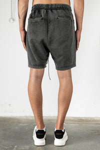 BLACK WASHED SWEAT SHORTS