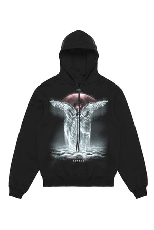 TWO STEPS FROM HEAVEN BLACK DRAWSTRING HOODIE