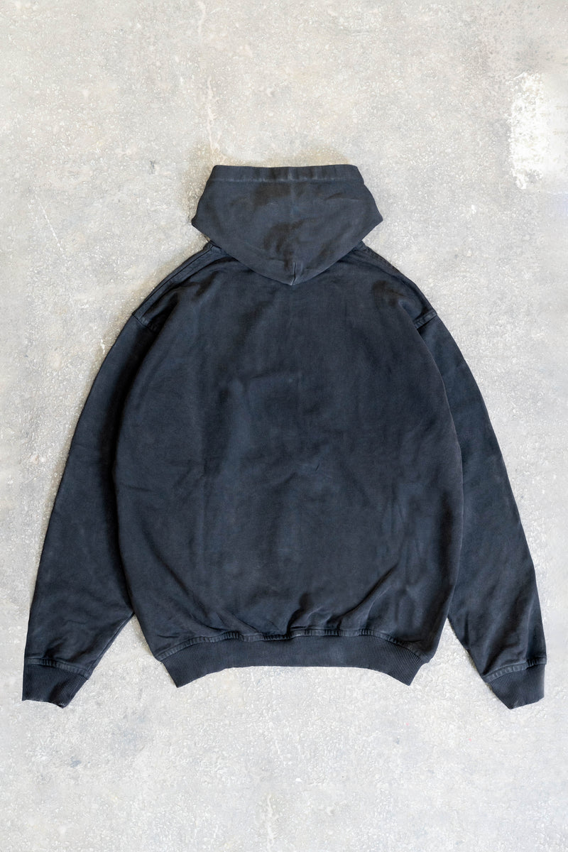 LOGO21 BLACK WASHED SNAP BUTTON HOODIE