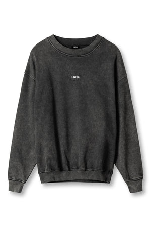 CENTER LOGO BLACK WASHED CREWNECK