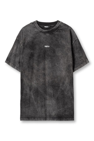 CENTER LOGO BLACK WASHED T-SHIRT
