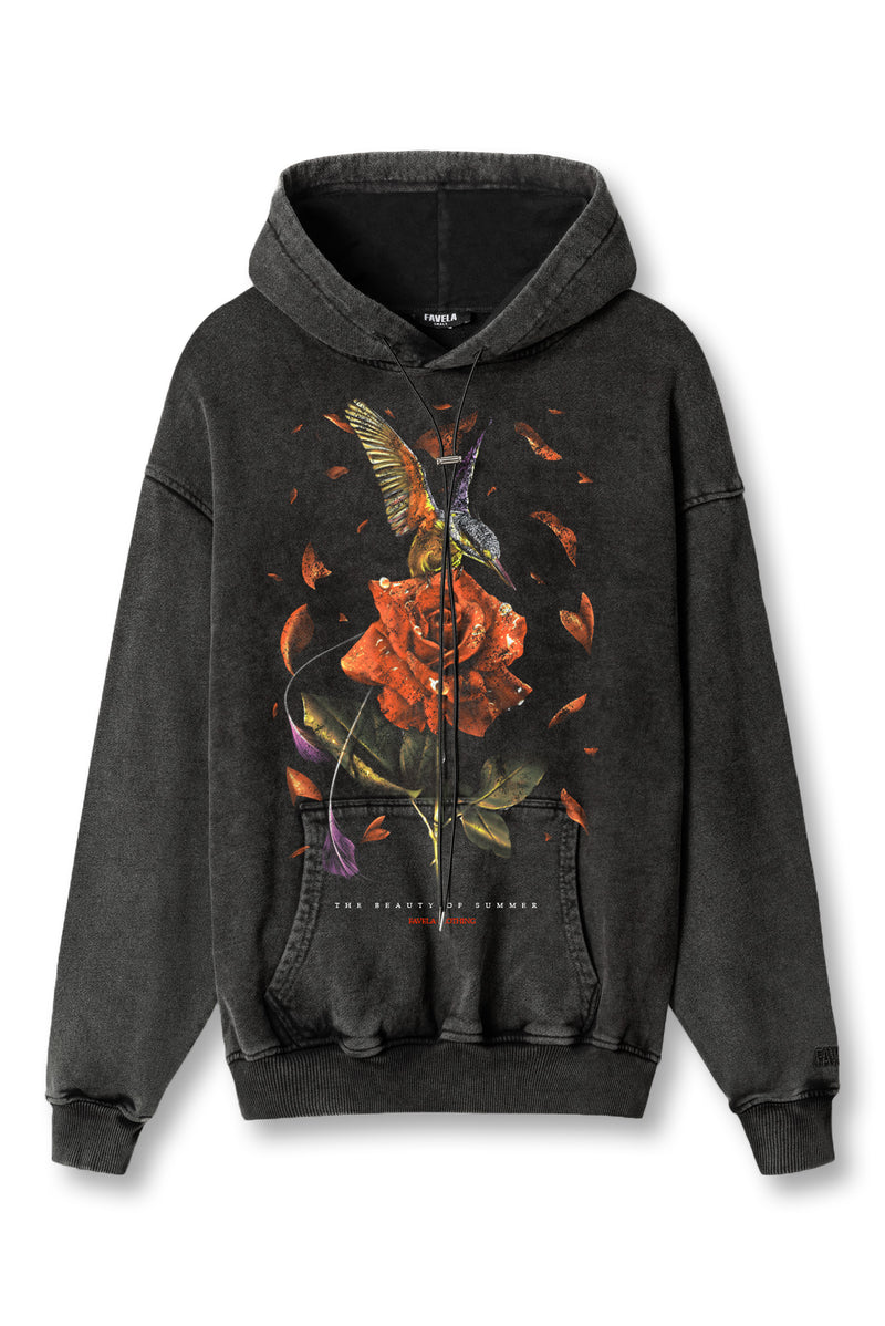 COLIBRI BLACK WASHED DRAWSTRING HOODIE