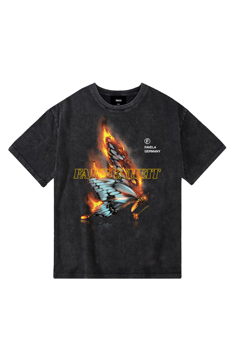 FAHRENHEIT BLACK WASHED T-SHIRT