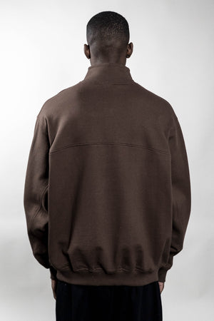 COFFEE BROWN HALFZIP CREWNECK