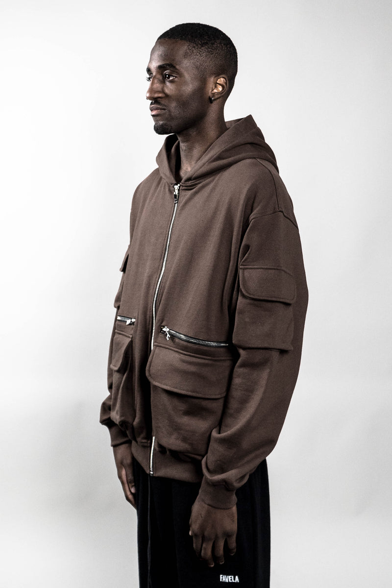COFFEE BROWN MILITARY CARGO FRONTZIP HOODIE