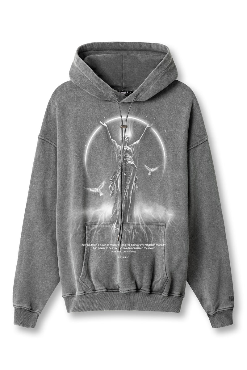 MISERY ANTHRA PETROL WASHED DRAWSTRING HOODIE