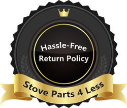 badge indicating hassle free return policy